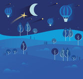 Night landscape with stars and moon, hot air balloons, tractor,. Nature, hills, field. Season. Autumn or summer. Harvest time, harvesting crops Stock Photography