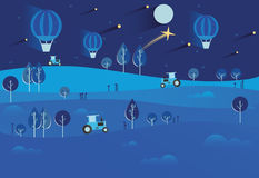 Night landscape with stars and moon, hot air balloons, tractor,. Nature, hills, field. Season. Autumn or summer. Harvest time, harvesting crops Royalty Free Stock Photo