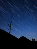 Night landscape with startrails Royalty Free Stock Photography