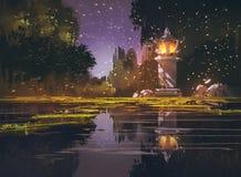 Night landscape with stone lantern Stock Photography