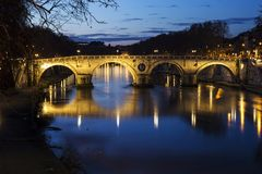 Night landscape of the Tiber river and Ponte Sisto in Rome Royalty Free Stock Photo