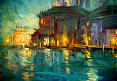 Night landscape to venice, painting, illustration Royalty Free Stock Photos