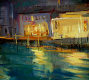 Night landscape to Venice, painting Stock Images