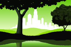 Night Landscape with trees and city silhouette Royalty Free Stock Photography