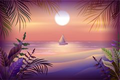 Night landscape of tropical island. Palm trees, beach, sea and sailboat. Vector nature illustration Stock Photo