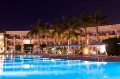 Night landscape of tropical resort. Luxury resort at night luminosity stock image