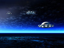 Night landscape with UFO. Fantastic night landscape with UFO and ocean. Illustration Royalty Free Stock Image