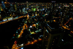 Night landscape from Umeda Sky Building. Bird's eye view from Umeda Sky Building, Japan Royalty Free Stock Photo