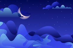 Night landscape, vector illustration. Blue mountains and moon on sky. Nature horizontal background with copy space. Abstract night landscape, vector hand drawn royalty free illustration