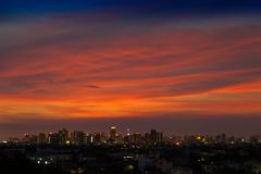A night landscape view of city at sunset time. Located at center of Bangkok Thailand royalty free stock images