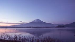 Night landscape view from kawaguchi lake with sky and fuji mount Stock Photo
