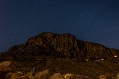 Night landscape with views of the high mountains and the starry sky stock images