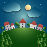 Night landscape with village and meadow background Stock Images