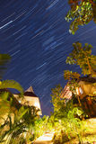 Night landscape with visible star trails Stock Photos
