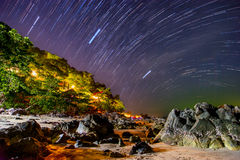 Night landscape with visible star trails Stock Image