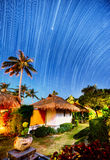 Night landscape with visible star trails Royalty Free Stock Images