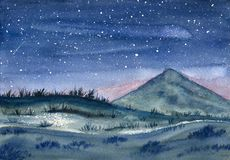Night landscape. Watercolor painting. Night landscape with starry sky, hill and mountain. Watercolor painting stock photos