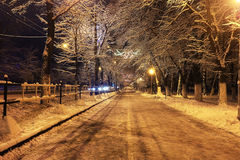 Night landscape in winter city Royalty Free Stock Photos
