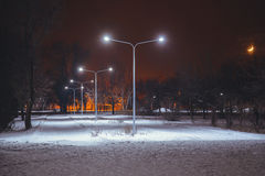 Night landscape in winter city. Park with lights Stock Images