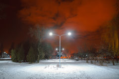 Night landscape in winter city. Park with lights Stock Photos