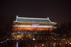 Night landscape of Xian ancient Drum Tower Royalty Free Stock Images