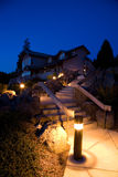Night Landscaping and Architecture Royalty Free Stock Photos
