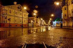 Night landspape of the city in the rain stock image