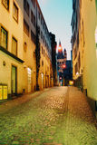 Night lane. Downtown lane in old city in Cologne, Germany illuminated at night Royalty Free Stock Photography