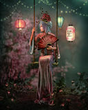 At Night in the Lantern Garden, 3d CG Stock Photography