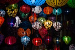 Night lanterns in old Hoi An town Stock Image