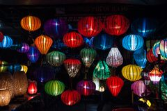 Night lanterns in old Hoi An town Royalty Free Stock Images