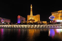 The night in Las Vegas. Dancing Fountains Stock Photography