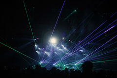 Night048. Laser lights special effects seen during an electronic music event held in Barcelona, Spain stock photo