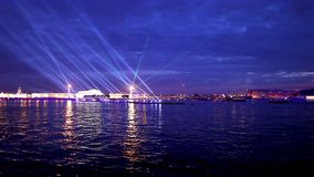 Night laser show in St. Petersburg Royalty Free Stock Photos