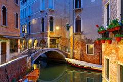Night lateral canal and bridge in Venice, Italy Royalty Free Stock Photography