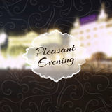 Night lettering on abstract blurry city background. Vector illustration royalty free illustration