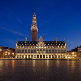 Night Leuven. View at Ladeuzeplein in Leuven (Belgium) in twilight Stock Images