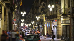 Night life in Barcelona, Spain stock video