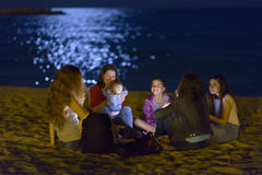 Night Life on Beach Stock Images