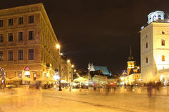 Night life in Castle Square. Warsaw. Poland Stock Photo