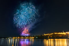 Night life with fireworks in Belgrade Royalty Free Stock Photos