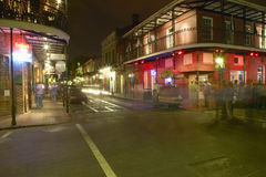 Night life with lights on Bourbon Street in French Quarter New Orleans, Louisiana Stock Photo