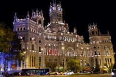 Night life in Madrid, Spain stock photo