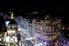 Night life in Madrid, Spain royalty free stock image