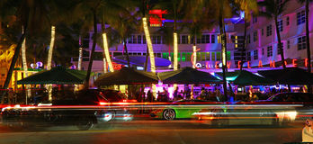 Night life in Ocean Drive, Miami Beach Royalty Free Stock Images