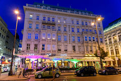 Night Life Scene In Downtown Area Of Vienna City Stock Images