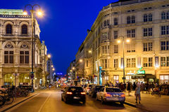 Night Life Scene In Downtown Area Of Vienna City Royalty Free Stock Images
