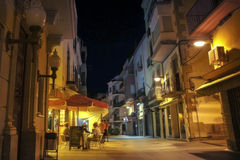Night life of a small Spanish town. Spain, Costa Brava, Palamos Stock Photography