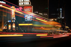 Night Life In Vegas. Lighttrails of passing traffic along the Las Vegas Strip Royalty Free Stock Image
