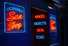 Night light. Licensed sex shop light at night Royalty Free Stock Images